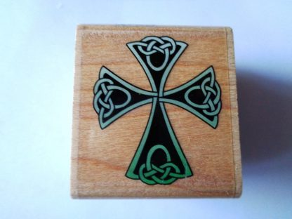 Celtic Knot Cross Wood Mounted Stamp