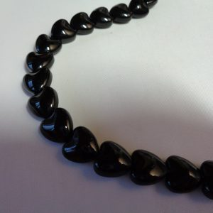 10mm Glass Black Hearts