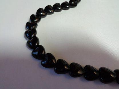 10mm Glass Black Hearts