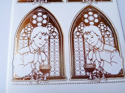Communion Boy White Gold Peel Off Sticker Sheet