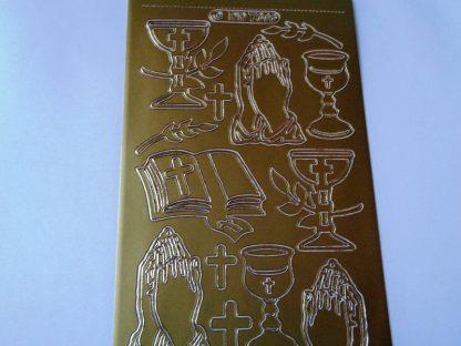 Church Service Gold Peel Off Sticker Sheet
