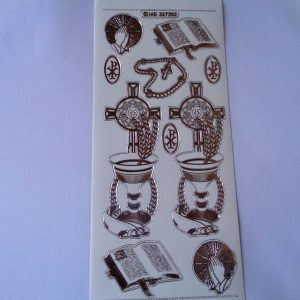 Religious Transparent Silver Peel Off Sticker Sheet