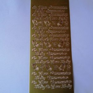 Holy Communion Words Gold Peel Off Sticker Sheet