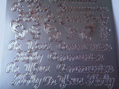 Holy Communion Words Silver Peel Off Sticker Sheet