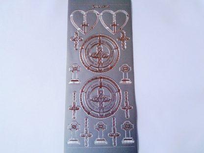 Rosary Silver Peel Off Sticker Sheet