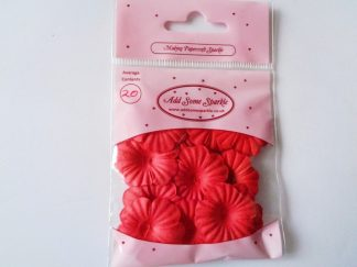 Pack of 20 Paper Blossom Flowers (approx 25mm in diameter) Bright Red