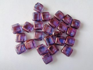 6mm 2-Hole Czechmates Tile Beads Crystal Vega