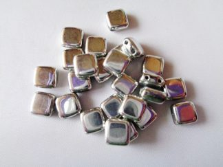 6mm x 6mm 2-Hole Czechmates Glass Tile Beads Full Labrador