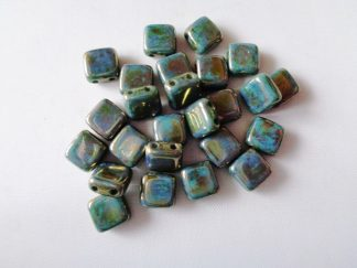 6mm x 6mm 2-Hole Czechmates Glass Tile Beads Turquoise Green Bronze Picasso