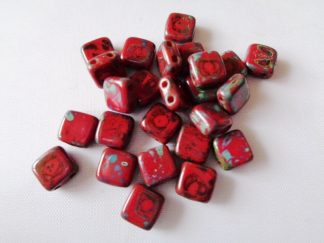 6mm 2-Hole Czechmates Tile Beads Opaque Coral Red Picasso