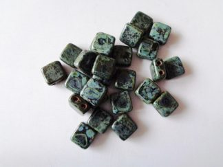 6mm 2-Hole Czechmates Tile Beads Jet Picasso
