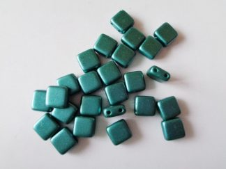 6mm 2-Hole Czechmates Tile Beads Pastel Teal