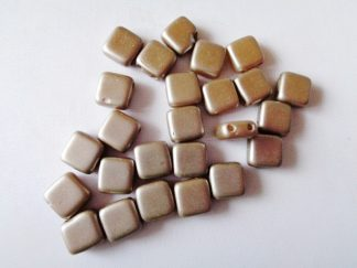 6mm 2-Hole Czechmates Tile Beads Pastel Light Coco Brown