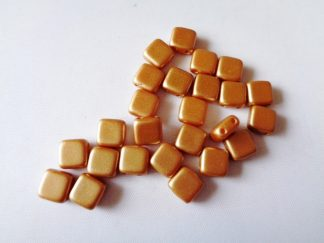6mm x 6mm 2-Hole Czechmates Glass Tile Beads Pastel Amber
