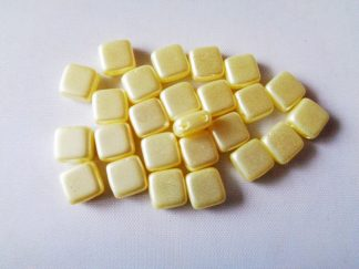 6mm 2-Hole Czechmates Tile Beads Pastel Cream