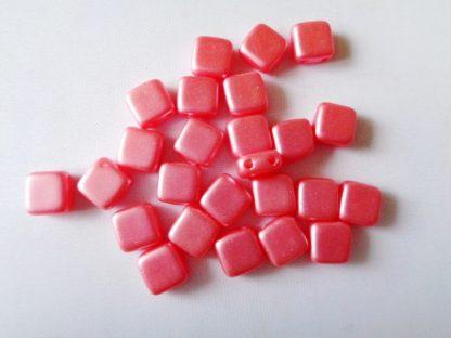6mm x 6mm 2-Hole Czechmates Glass Tile Beads Pastel Light Coral