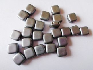 6mm x 6mm 2-Hole Czechmates Glass Tile Beads Pastel Light Grey