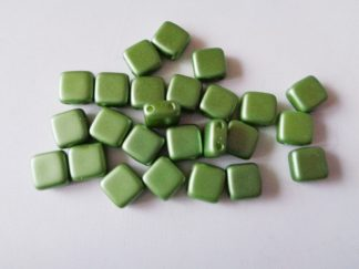 6mm x 6mm 2-Hole Czechmates Glass Tile Beads Pastel Olivine