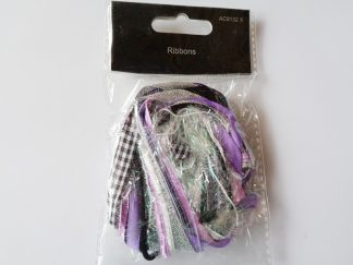 Purple, Black & Silver Mixed Ribbon Pack approx 10 metres
