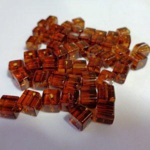 6mm Amber Brown Glass Cubes