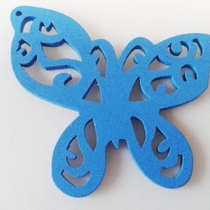 Pack of 5 Wooden Pendants Blue Butterfly