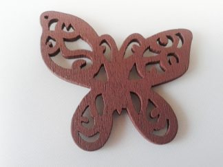 Pack of 5 Wooden Pendants Brown Butterfly