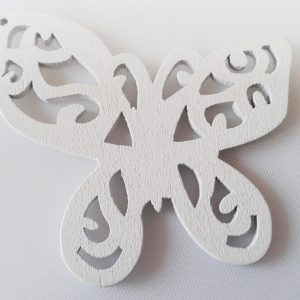 Pack of 5 Wooden Pendants White Butterfly