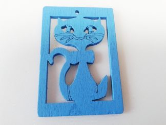Pack of 5 Blue Cat Wooden Pendants approx 47mm