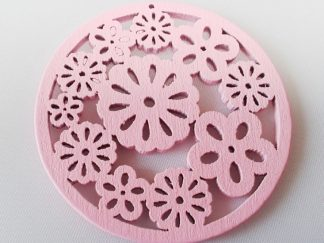 Pack of 5 Wooden Pendants Pink Flowers