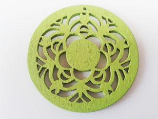 Pack of 5 Wooden Pendants Green Filigree