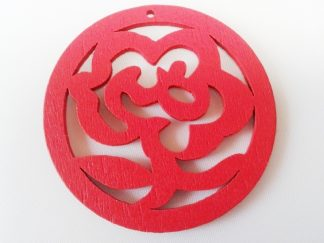 Pack of 5 Wooden Pendants Red Rose