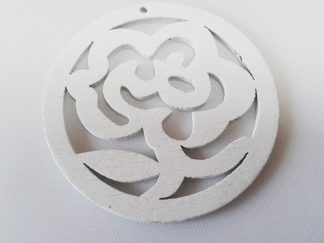 Pack of 5 Wooden Pendants White Rose