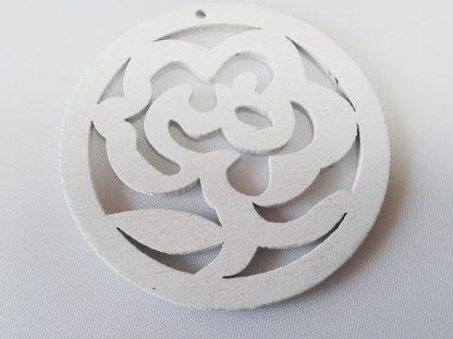 Pack of 5 Wooden Pendants White Rose