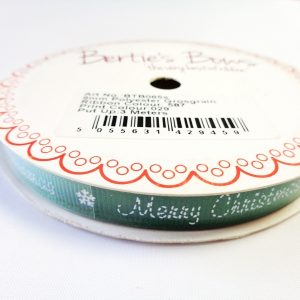 Stitched Merry Christmas Green Grosgrain Ribbon