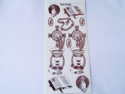 Religious Peel Offs Transparent Silver