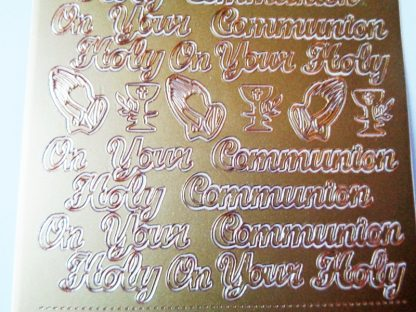 Holy Communion Words Peel Offs Gold