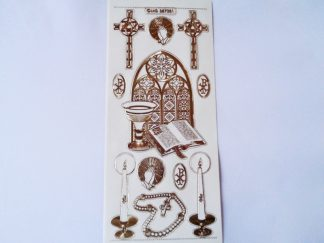 Religious Occasions Transparent Gold Peel Off Sticker Sheet