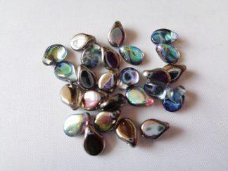 5mm x 7mm Czech Pip Pressed Glass Beads Crystal Graphite Iris