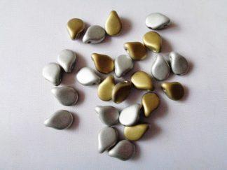 5mm x 7mm Czech Pip Pressed Glass Beads Crystal California Silver Matt