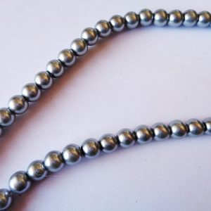 6mm Glass Pearls Graphite (80cm strand approx 154 beads)