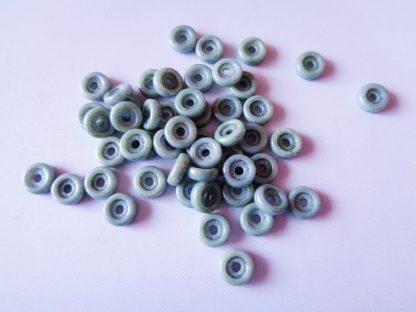 Pack of 50 6mm Wheel Chalk Czech Glass Beads Green Luster