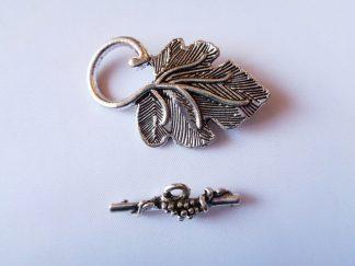 Silver Tone Leaf Toggle Clasp