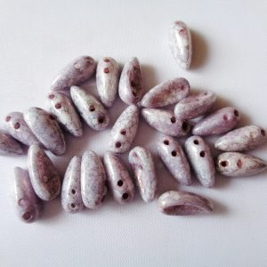 Pack of 25 4mm x 11mm 2-Hole Czech Glass Chilli Beads Alabaster Terracotta Copper