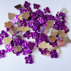 100 x 10mm x 8mm Acrylic Butterflies Purple