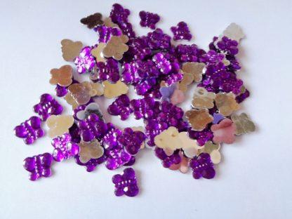 100 x 10mm x 8mm Acrylic Butterflies Purple