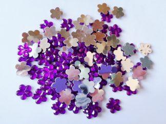 100 x 10mm Acrylic Gem Flowers Purple