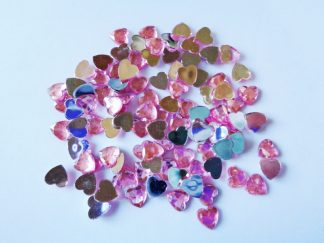 100 x 8mm Acrylic Heart Gems Pink