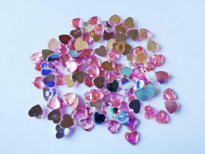 100 x 8mm Acrylic Heart Gems Pink