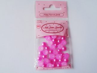 8mm Pearl Half Round Hot Pink (approx 50)