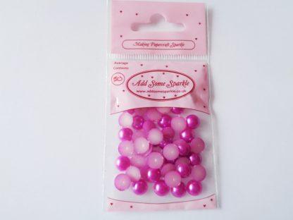 8mm Pearl Half Round Azalea (approx 50)
